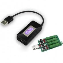 USB Tester DC Voltmeter Ammeter Voltage Current Meter Capacity Monitor QC2.0 Quick Charger Detector + USB Discharge Load Resistor