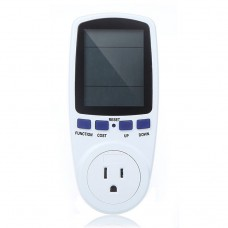 AC 120V 60Hz Max 15A LCD Display Power Meter Energy Watt Amps Volt Electricity Usage Monitor Analyzer, US Plug