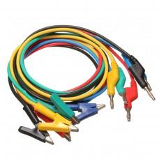 5Pcs Silicone Banana Plug to Crocodile Alligator Clip Test Probe Lead Wire Cable